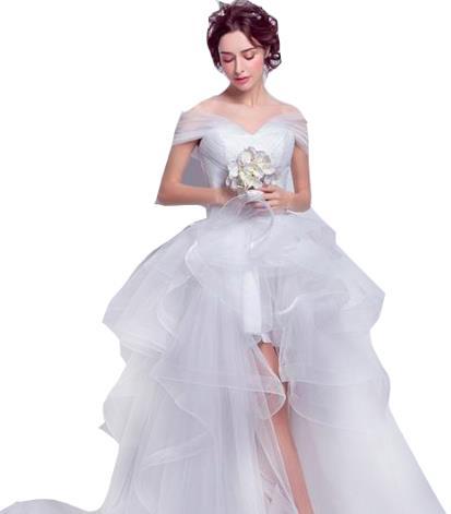 ウェディングドレス カラー ワンピース Vネック 結婚式パーディ- 花嫁 ドレス 編上げタイプ ロング アシンメトリー トレーン 引き裾 スレンダーライン 脚長効果