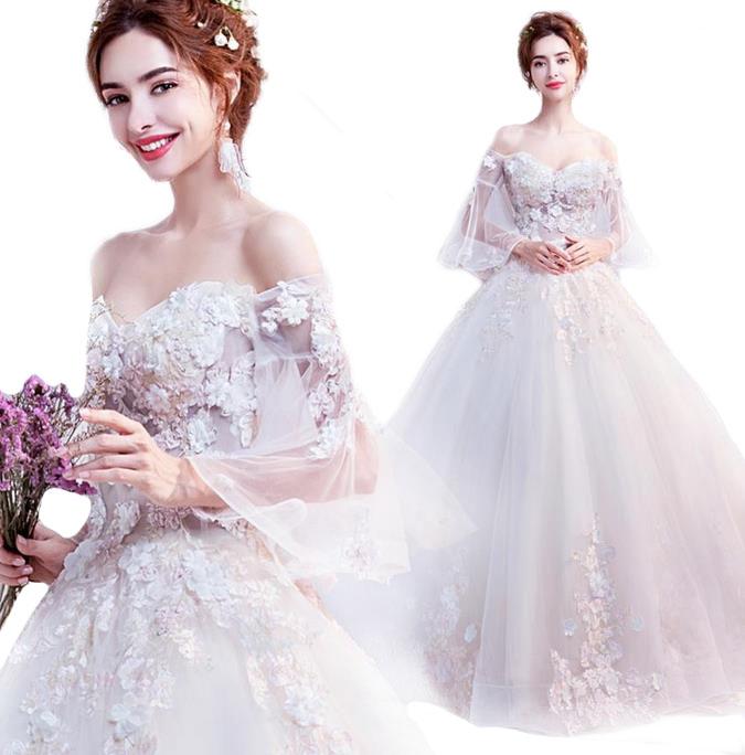 ウェディングドレス カラー ワンピース Vネック 結婚式パーディ- 花嫁 ドレス 編上げタイプ ロング プリンセス 花姫