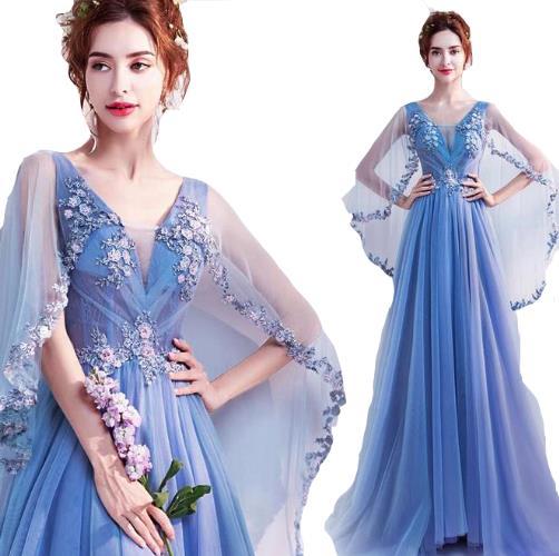 ウェディングドレス カラー ワンピース Vネック 結婚式パーディ- 花嫁 ドレス 編上げタイプ ロング プリンセス