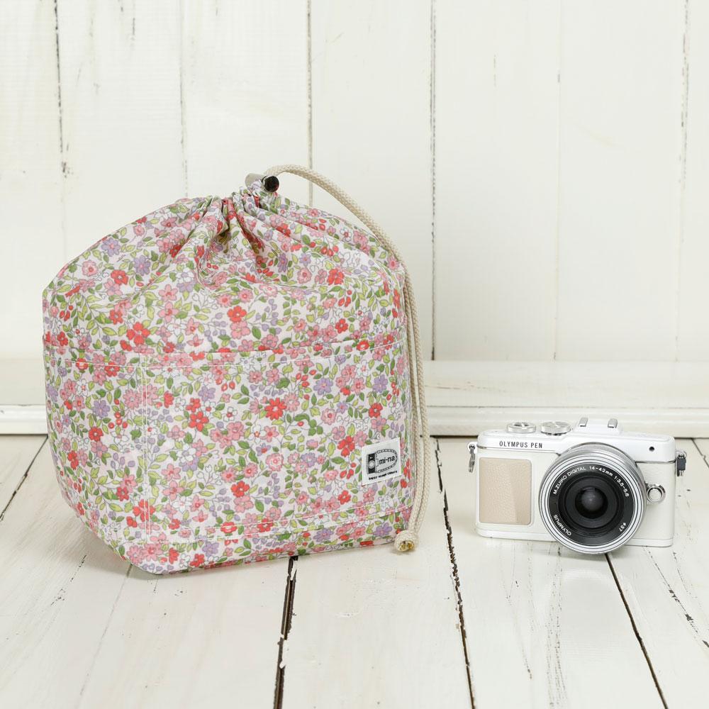 ポケットいっぱいでとっても便利!巾着型インナーケース カメラバッグ おしゃれ ふわふわソフトタイプ カメラ用 12ポケットインナーバッグ カメラケース /プティフル―ルピンク