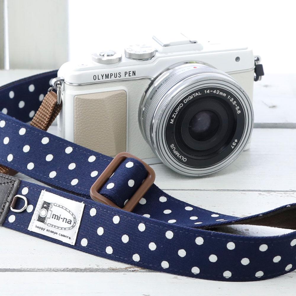 The camera girl cute! Women's camera strap / Navy dot