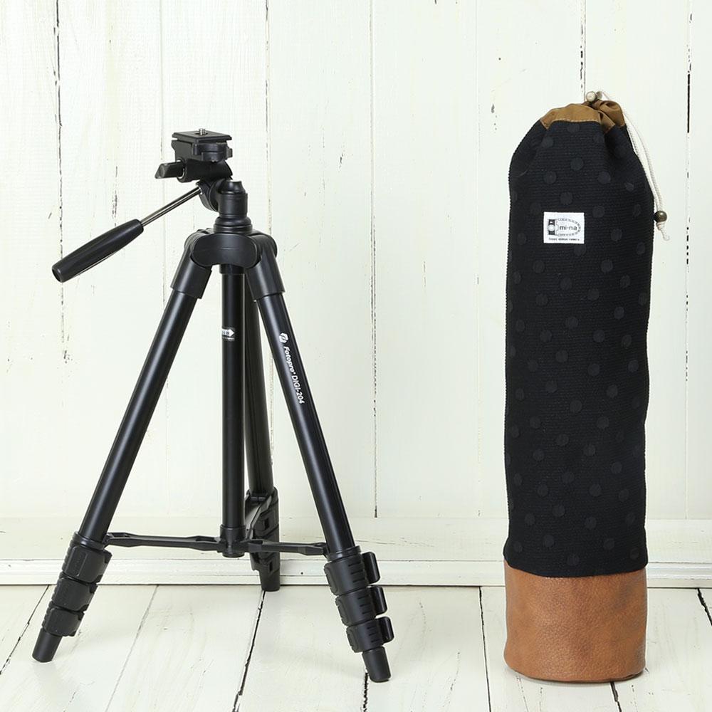 かわいい三脚ケースとコンパクトな三脚の2点セットです NEW売り切れる前に☆ 三脚 軽量 ビデオカメラ ミラーレス一眼 の2点セット 大特価!! エレガントブラックレディードット かわいいケースとコンパクト三脚 ブラック