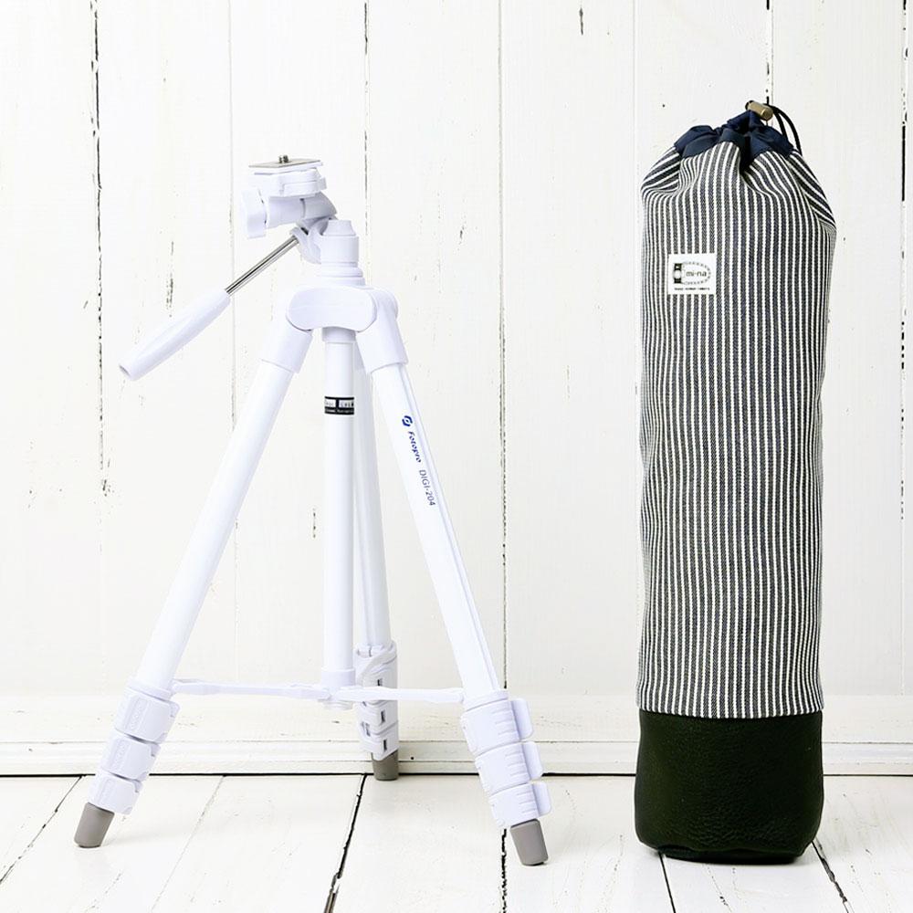 かわいい三脚ケースとコンパクトな白い三脚の2点セットです 三脚 軽量 ビデオカメラ ミラーレス一眼 かわいいケースとコンパクト三脚 の2点セット アメリカンヒッコリー 引出物 高価値 ホワイト