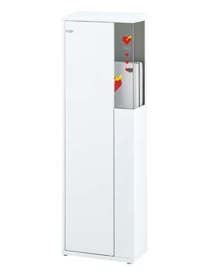 AED収納ケース UAB-302Z-PWH スチール 色:ポーラルホワイトペイント ゼンマイ式警報ベル付 ユニオン製 【消火器設置台/ケース】