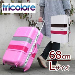 SALE スーツケース Lサイズ 大型 トリコロール柄 フレームタイプ TSAロック付 日乃本製キャスター 送料無料 1年保証付 ≪B1133T/Tricolore≫68cm