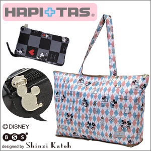 Mickey & Minnie folding tote bag ☆ carry through and easy to carry! HAPI+TAS (ハピタス) «H0001 ≫