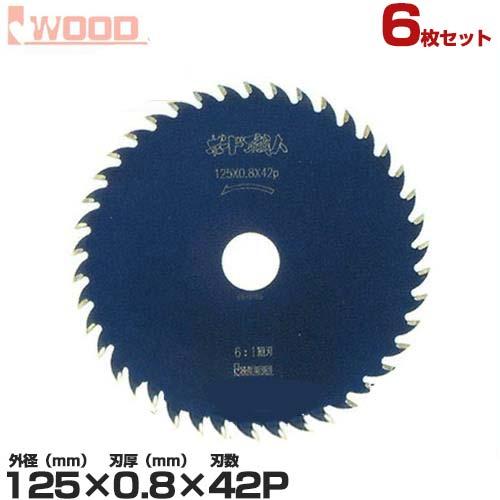 アイウッド 石こうボード用チップソー No.97301 《6枚セット》 (外径125×厚み0.8×ピッチ42p)