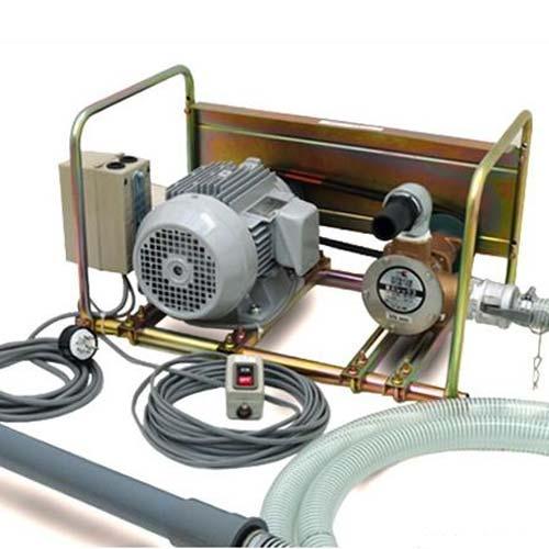 ミナト 1.5インチ 可搬式バキュームポンプ セット 《三相200V3Hp全閉モーター+10m遠隔スイッチ+吸込管4m付き》