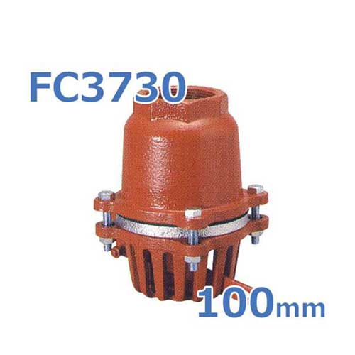 鋳鉄製片開式レバー付フートバルブ FC3730 100mm ネジコミ型