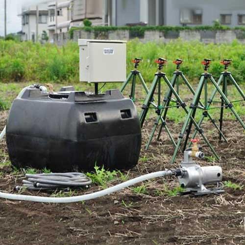 100V高圧灌水ポンプ+自立型制御盤+自動給水機能付き500Lタンク [スプリンクラー 散水機]