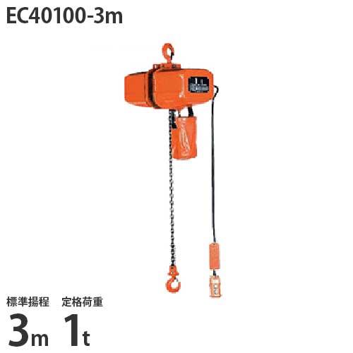 ニッチ 懸垂式 電気チェーンブロック EC40100-3m (標準揚程3m/三相200V/定格荷重1t/2点押ボタン式)