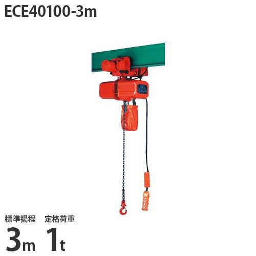 ニッチ 電動横行式 電気チェーンブロック(電動クレーン用) 4点押ボタン式 三相200V ECE40100-3m (1t/標準揚程3m/操作電圧24V)