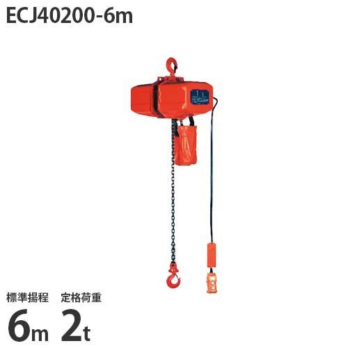 ニッチ 懸垂式 電気チェーンブロック ECJ40200-6m (標準揚程6m/三相200V/定格荷重2t/2点押ボタン式)