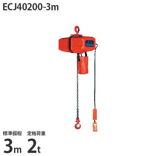 ニッチ 懸垂式 電気チェーンブロック ECJ40200-3m (標準揚程3m/三相200V/定格荷重2t/2点押ボタン式)