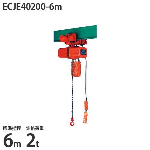 ニッチ 電動横行式 電気チェーンブロック(電動クレーン用) 4点押ボタン式 三相200V ECJE40200-6m (2t/標準揚程6m/操作電圧24V)