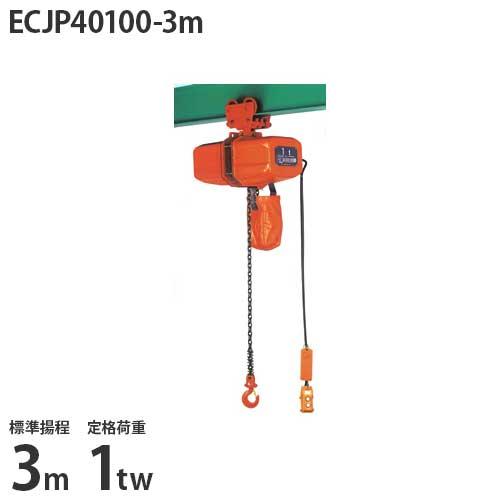 ニッチ 手押横行式 電気チェーンブロック ECJP40100-3m (標準揚程3m/三相200V/定格荷重1tw2本吊)