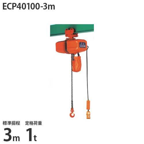 ニッチ 手押横行式 電気チェーンブロック ECP40100-3m (標準揚程3m/三相200V/定格荷重1t)