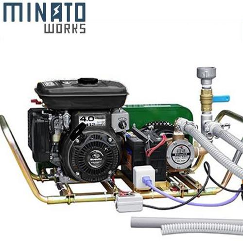 ミナト 1インチ バキュームポンプ ロビン6馬力セル付エンジン+電磁クラッチ+遠隔スイッチ+吸込管5m付セット [ラバレックス エンジン式 海水用 排水用 汚水用]