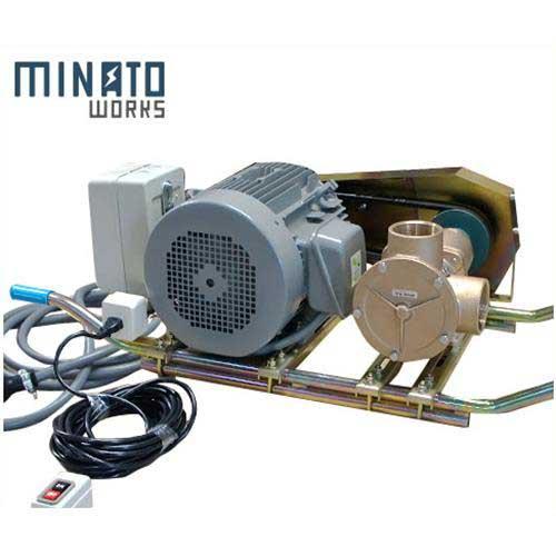 ミナト 2.5インチ バキュームポンプ 三相200V7.5Hpモーター+遠隔スイッチ付 [ラバレックス エンジン式 海水用 排水用 汚水用]