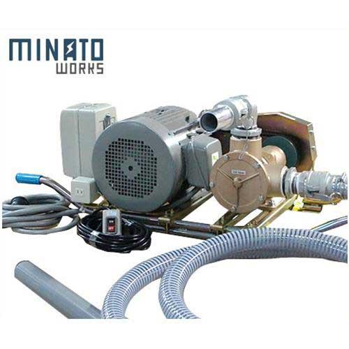 ミナト 2.5インチ バキュームポンプ 三相200V7.5Hpモーター+5mホース+遠隔スイッチ付セット [ラバレックス エンジン式 海水用 排水用 汚水用]