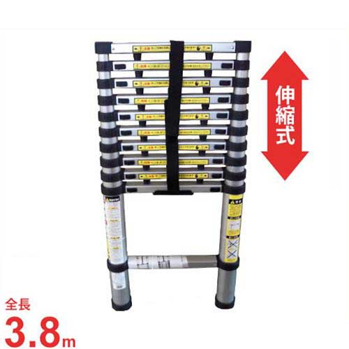 マイスター アルミ製 伸縮式はしご 3.8m (耐荷重100kg)