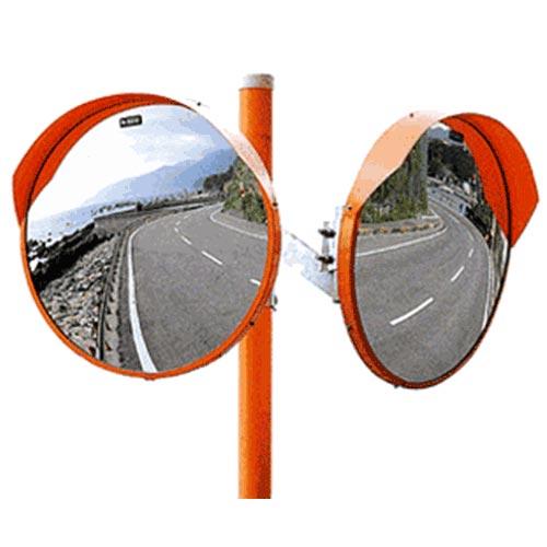 クラシック ステンレスミラー [小型カーブミラー ナック カーブミラー]:ミナト電機工業 ステンレス 小型カーブミラー+支柱付 490Ф 2面鏡-DIY・工具
