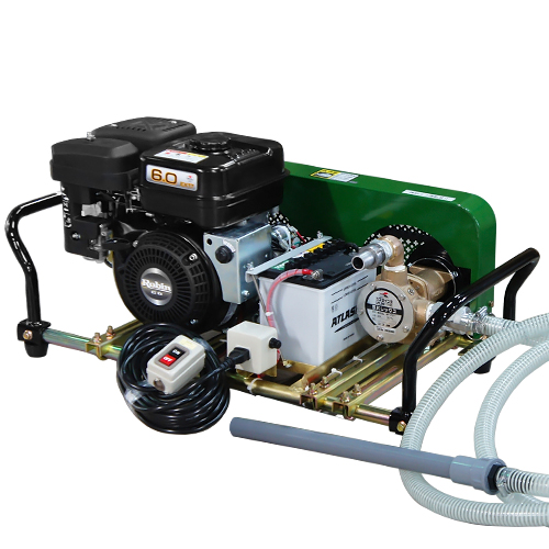 ミナト 1インチ バキュームポンプ ロビン6馬力セル付エンジン+電磁クラッチ+遠隔スイッチ付セット [ラバレックス エンジン式 海水用 排水用 汚水用]