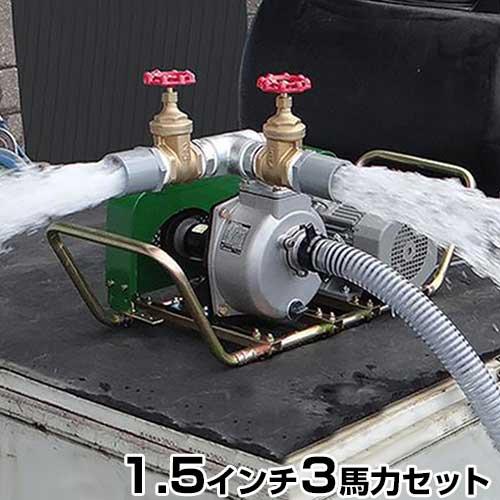 ミナト 2水路切り替え型 1.5インチ ベルト掛けポンプセット 《三相200V3馬力モーター+サクションホース4m付》