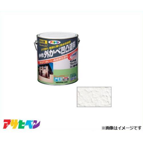 アサヒペン 水性 外かべ凹凸塗料ツヤあり 3L ホワイト [ツヤあり 立体凹凸模様 防カビ剤 防藻剤]