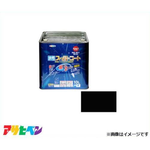 [最大1000円OFFクーポン] アサヒペン 水性スーパーコート 10L 黒 [無臭 1回塗り サビドメ カビドメ]