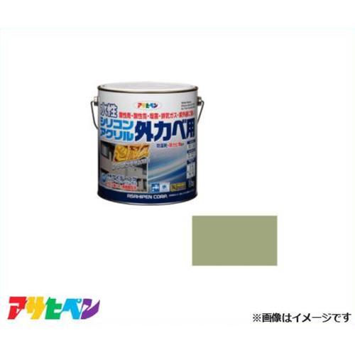アサヒペン 水性シリコンアクリル外かべ用 3kg ウィニーグリーン [超耐久 防藻 防カビ]
