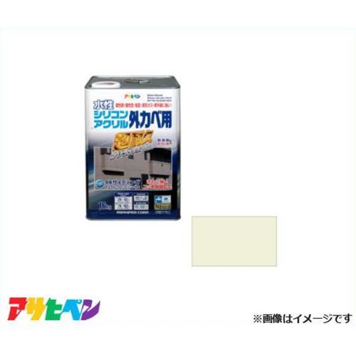アサヒペン 水性シリコンアクリル外かべ用 16kg ミルキーホワイト [超耐久 防藻 防カビ]