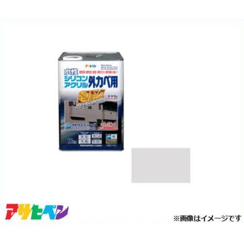 アサヒペン 水性シリコンアクリル外かべ用 16kg ソフトグレー [超耐久 防藻 防カビ]