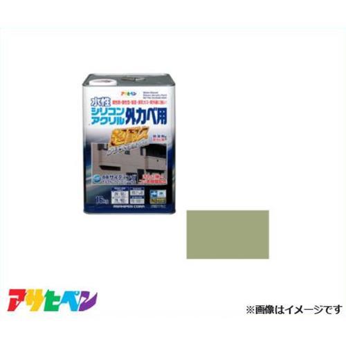 アサヒペン 水性シリコンアクリル外かべ用 16kg ウィニーグリーン [超耐久 防藻 防カビ]