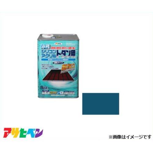 アサヒペン 水性シリコンアクリルトタン用 14L オーシャンブルー [超耐久 速乾]
