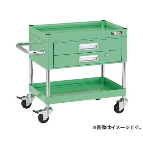 TRUSCO ファルコンワゴン600X400 2段引出付 ゴム車輪 YG色 FAW662XYG [r20][s9-910]