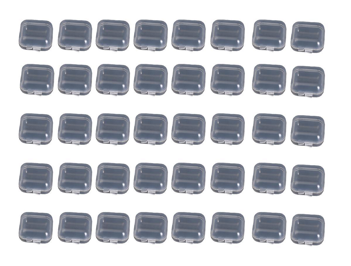 小分け容器 小型 パーツ 部品 入れ 小物収納 アクセサリー ケース 透明 蓋つき 正方形 詰替え 詰め替え 化  プラスチック 製 3.5×3.5×1.8cm 小分け 収納ケース 40個セット 小さい プラケース クリアケース イヤフォン 耳栓 薬 ビーズ 【送料無料】mmk-p52