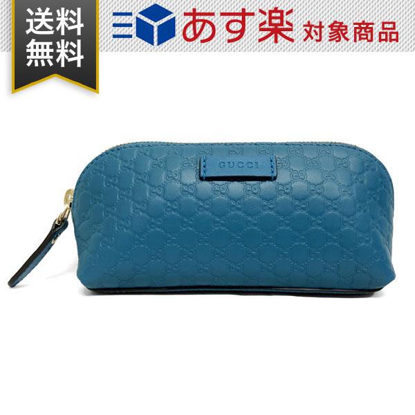 グッチ ポーチ GG柄 レディース GUCCI 449894 BMJ1G 4618 マイクログッチシマ レザー 化粧ポーチ ブルー