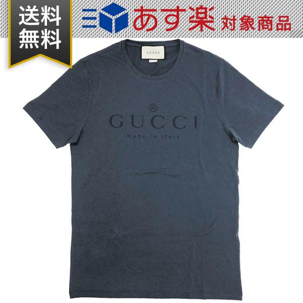 グッチ シャツ メンズ レディース GUCCI アウトレット ロゴ Tシャツ 441685 X3A80 4113 コットン ブルー