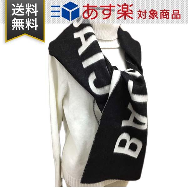 バレンシアガ マフラー BALENCIAGA メンズ レディース ロゴ入り ウール スカーフ マフラー 512732 320B0 1077 ブラック ホワイト
