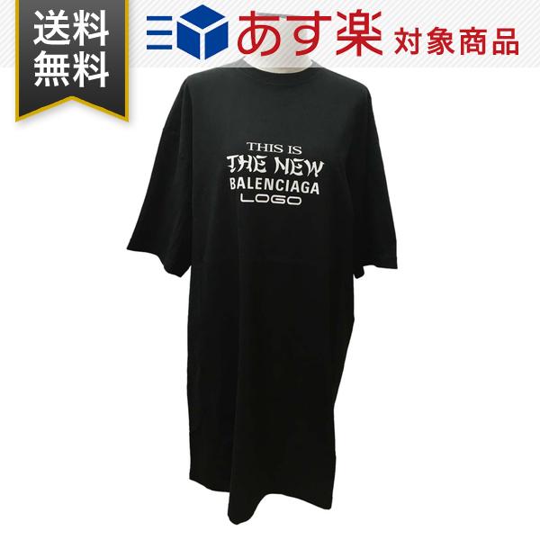 バレンシアガ Tシャツ レディース BALENCIAGA 520494 TAV04 1000 オーバーサイズド ロング丈 ブラック
