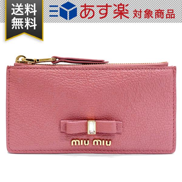 ミュウミュウ コインケース マドラスレザー MIUMIU 5MB006 2D7A F0028 MADRAS FIOCCO ゴートレザー 山羊革 カードケース ROSA ピンク