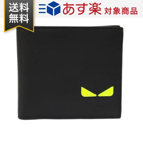 フェンディ 財布 FENDI 7M0266 A7TE F17H2 メンズ 二つ折り財布 小銭入れ無し バッグ バグズ アイモチーフ レザー 黒 ブラック