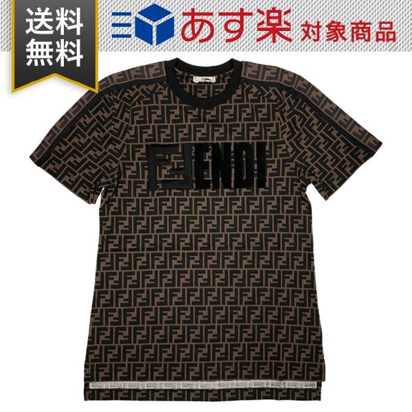 フェンディ レディース Tシャツ FF コットン ジャージー FENDI FS7074 A5HL F15NH ブラウン
