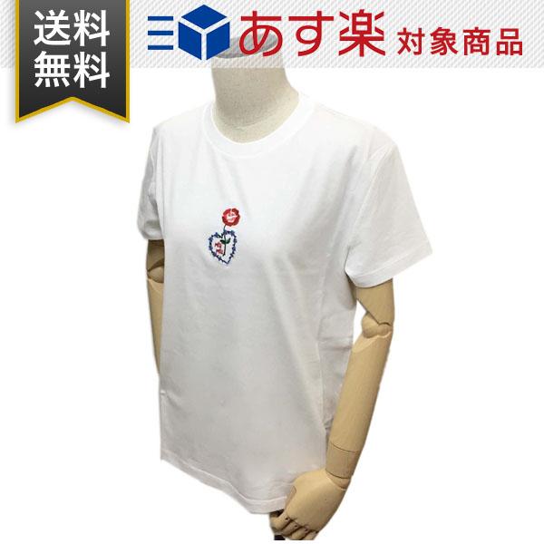 ミュウミュウ Tシャツ レディース 半袖 丸首 MIUMIU MJN180 1V6F F0009 フラワーハートモチーフ ホワイト