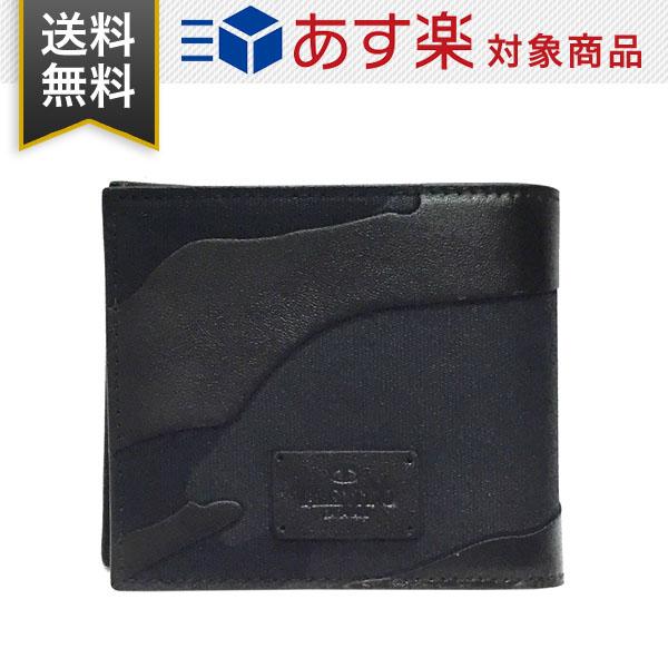 ヴァレンティノ 財布 ガラヴァーニ ブラック カモフラージュ メンズ 二つ折り財布 VALENTINO NY2P0445 TFN 0NO 迷彩柄 ブラック レザー 小銭入れ無し