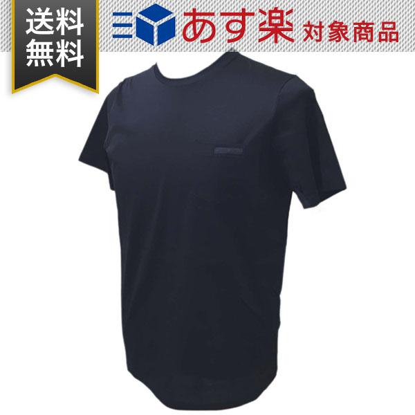 プラダ Tシャツ メンズ PRADA UJN006 1GAW F0008 丸首 BLEU ネイビー コットン