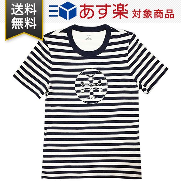 TORY BURCH Tシャツ キャンペーンもお見逃しなく 新品 送料無料 ギフト プレゼント包装無料 トリーバーチ 63871 安売り 124 クルーネック ネイビー ストライプ レディース STRIPED 半袖 T-SHIRT ロゴ LOGO