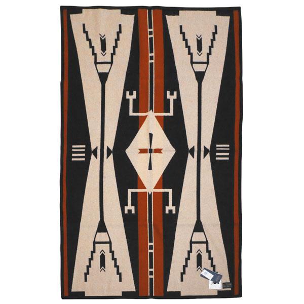 ペンドルトン PENDLETON ウール ブランケット 172cm×99cm ZG736 50401 AICF Saddle Blanket Cheyenne Eagle Beige/Black ベージュマルチカラー