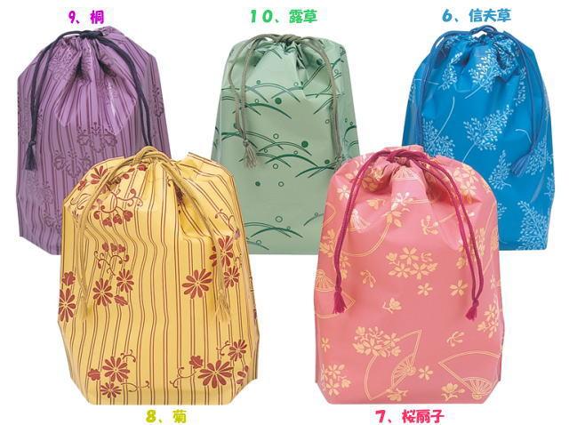 【送料無料】(北海道・九州・沖縄・離島は除く)和風色1枚梨地 和風柄入り巾着袋(単色500枚)